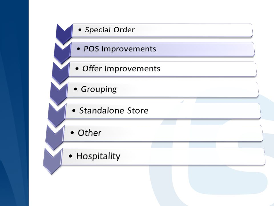 Special Order POS Improvements Offer Improvements Grouping Standalone Store Other Hospitality