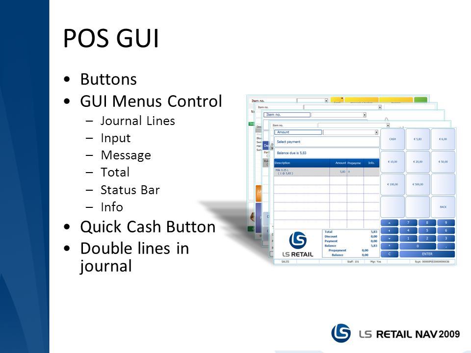 POS GUI Buttons GUI Menus Control Quick Cash Button