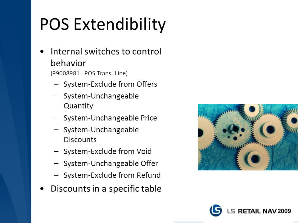 POS Extendibility Internal switches to control behavior (99008981 - POS Trans. Line) System-Exclude from Offers.