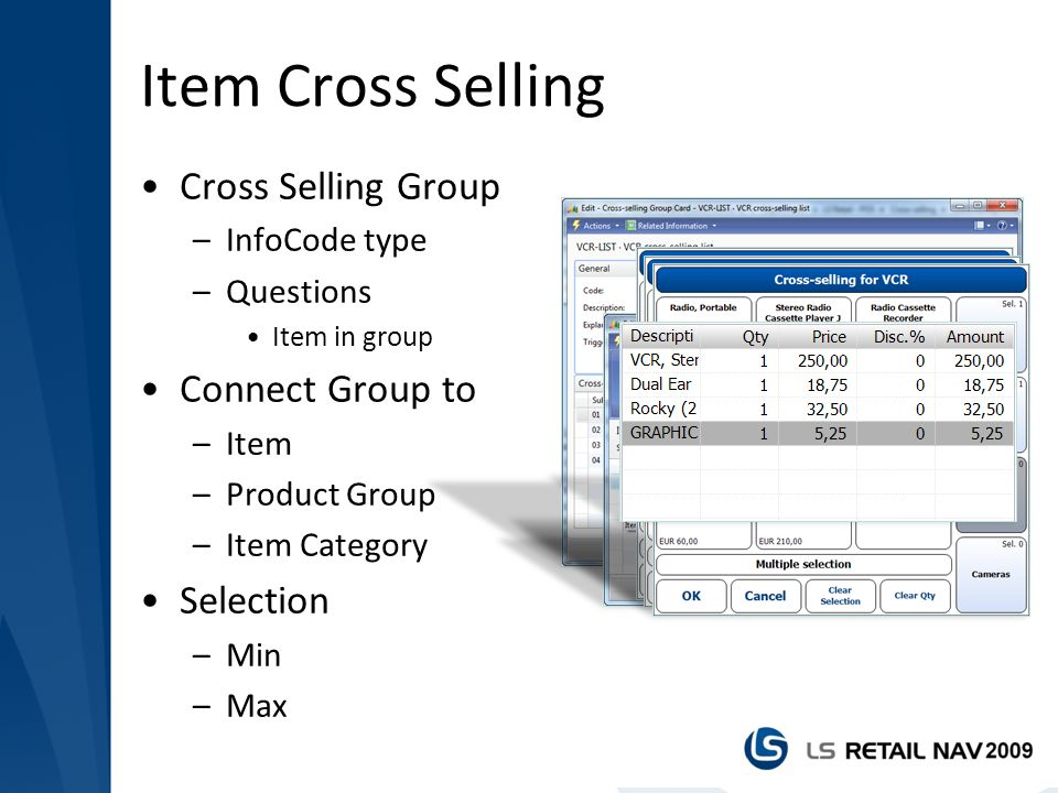 Item Cross Selling Cross Selling Group Connect Group to Selection