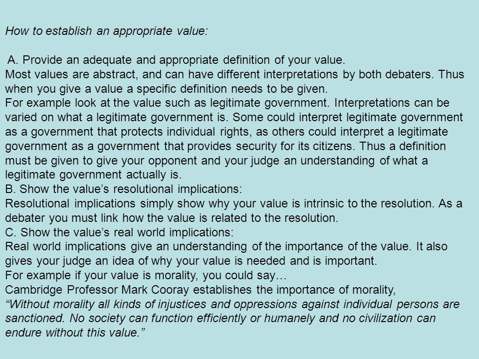 How to establish an appropriate value: