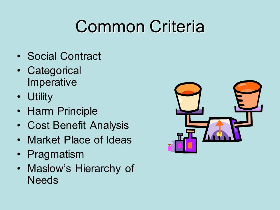 Common Criteria Social Contract Categorical Imperative Utility