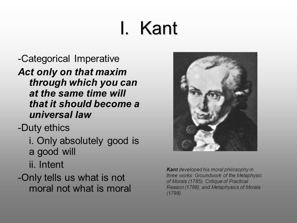 I. Kant -Categorical Imperative