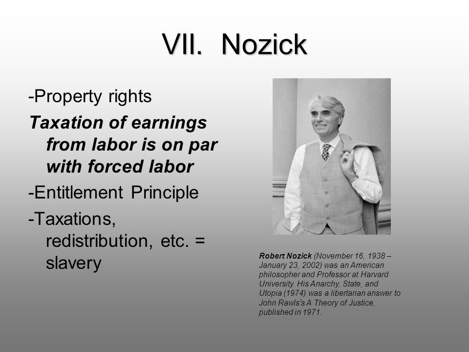 VII. Nozick -Property rights