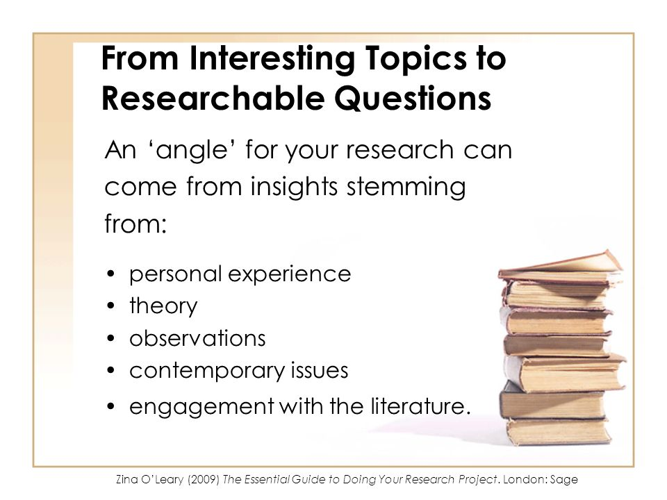 From Interesting Topics to Researchable Questions