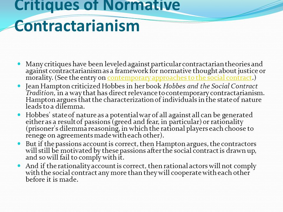 Critiques of Normative Contractarianism