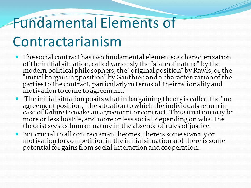 Fundamental Elements of Contractarianism