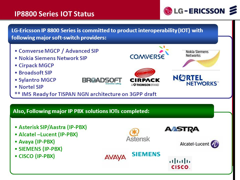 IP8800 Series IOT Status LG-Ericsson IP 8800 Series is committed to product interoperability (IOT) with.