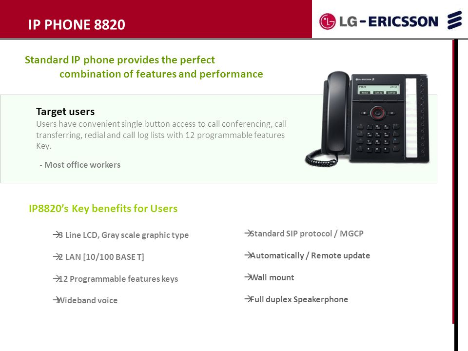 IP PHONE 8820 Standard IP phone provides the perfect