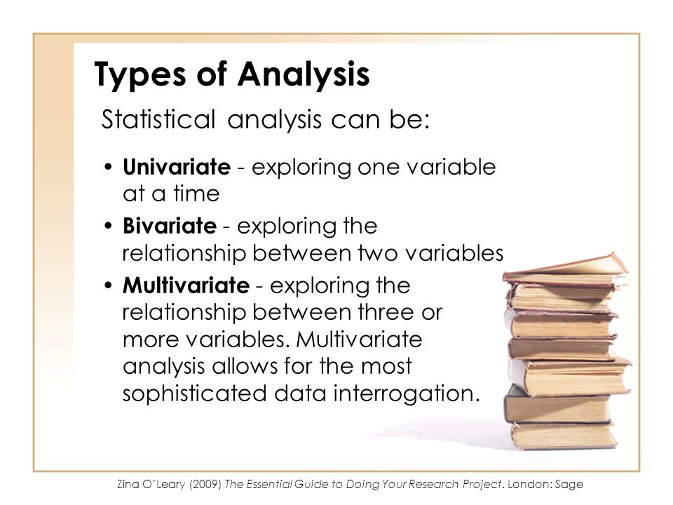 Types of Analysis Statistical analysis can be: