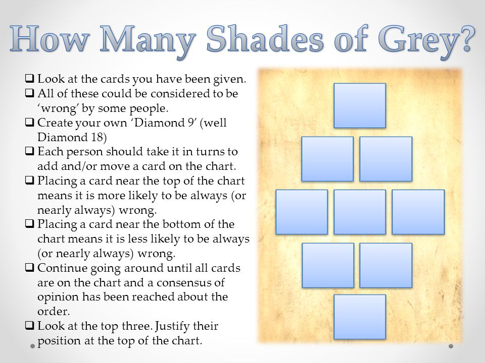How Many Shades of Grey Look at the cards you have been given.