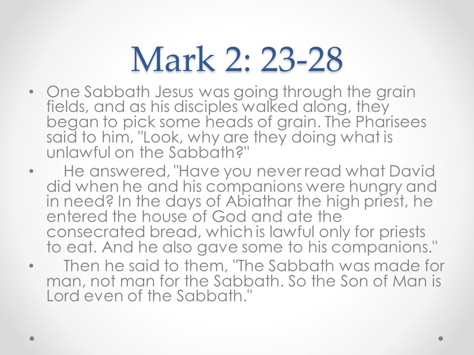 Mark 2: 23-28