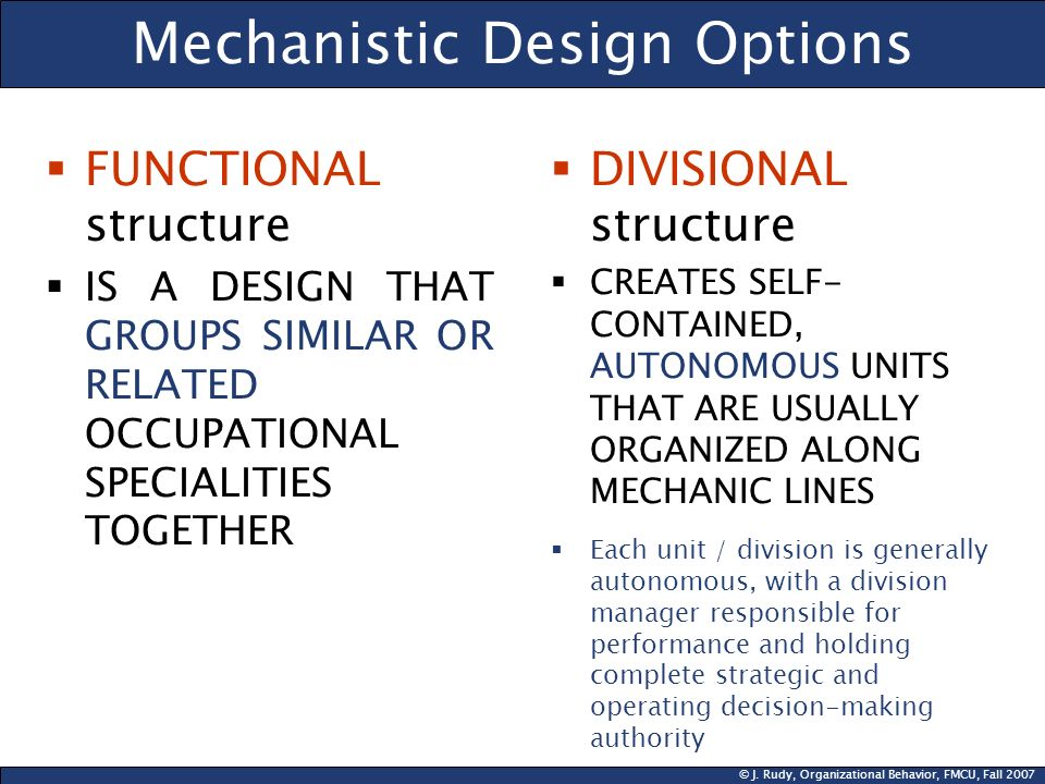 Mechanistic Design Options