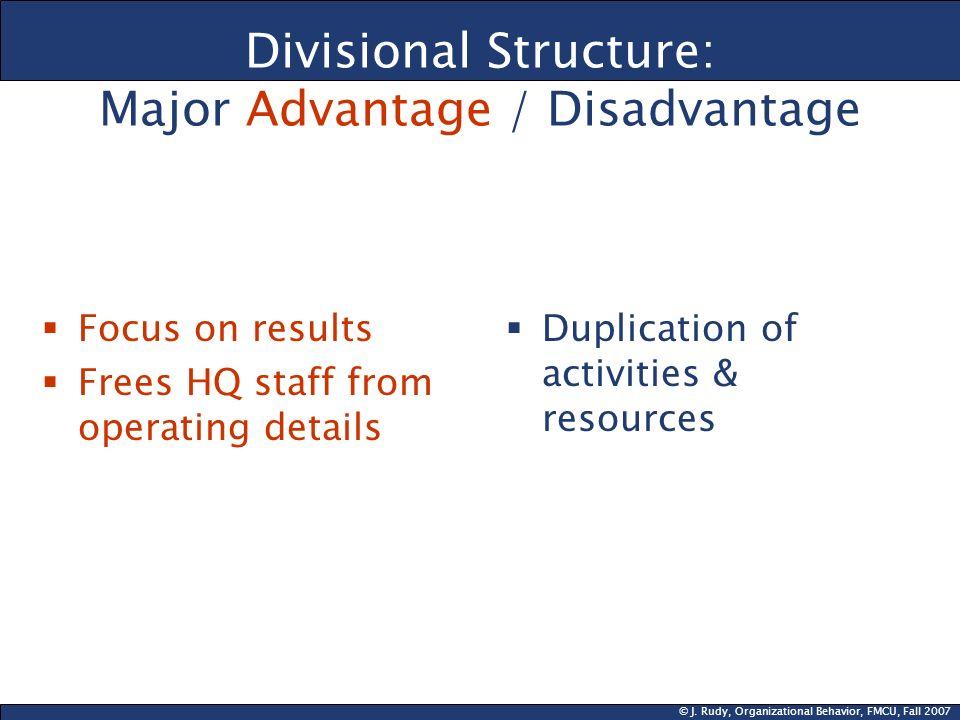 Divisional Structure: Major Advantage / Disadvantage