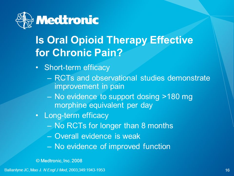 Is Oral Opioid Therapy Effective for Chronic Pain
