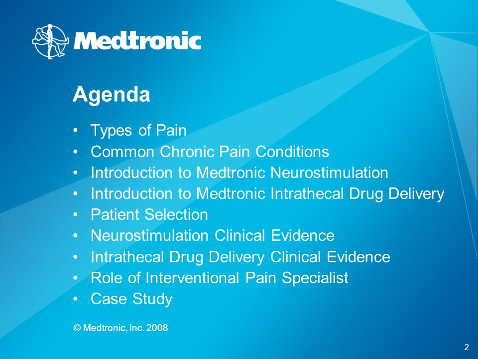 Agenda Types of Pain Common Chronic Pain Conditions