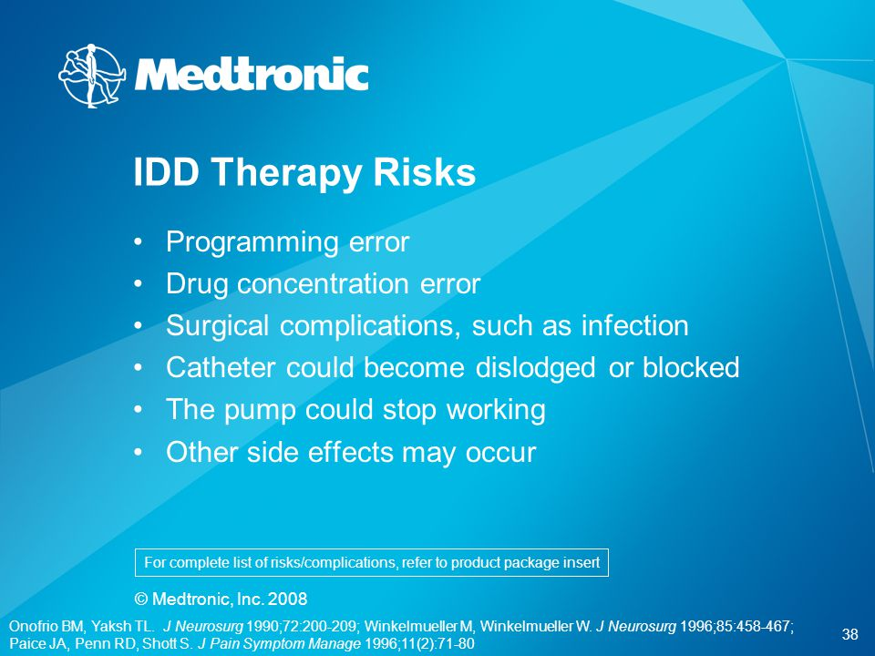 IDD Therapy Risks Programming error Drug concentration error