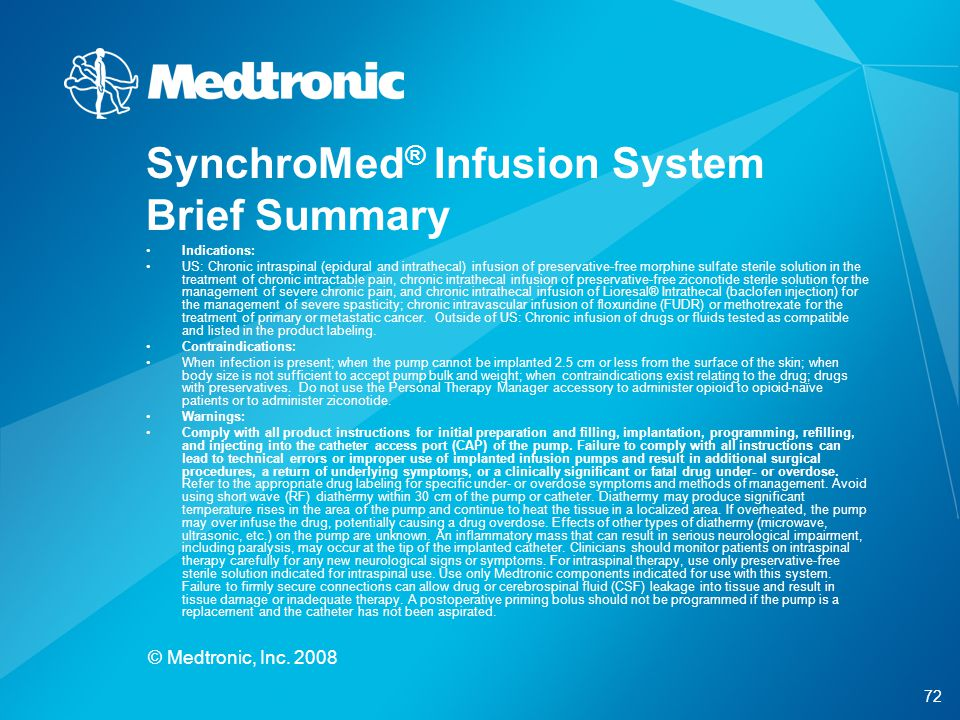 SynchroMed® Infusion System Brief Summary