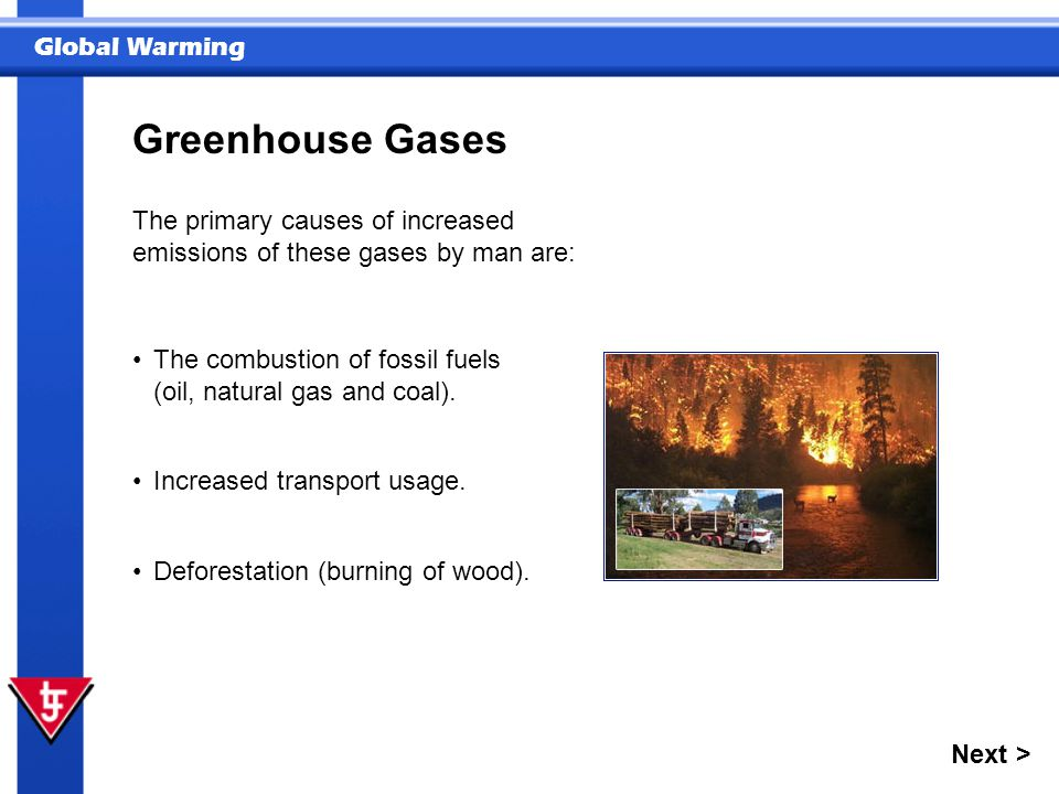 Greenhouse Gases The primary causes of increased emissions of these gases by man are: The combustion of fossil fuels (oil, natural gas and coal).