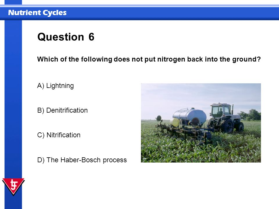 Question 6. Which of the following does not put nitrogen back into the ground A) Lightning. B) Denitrification.