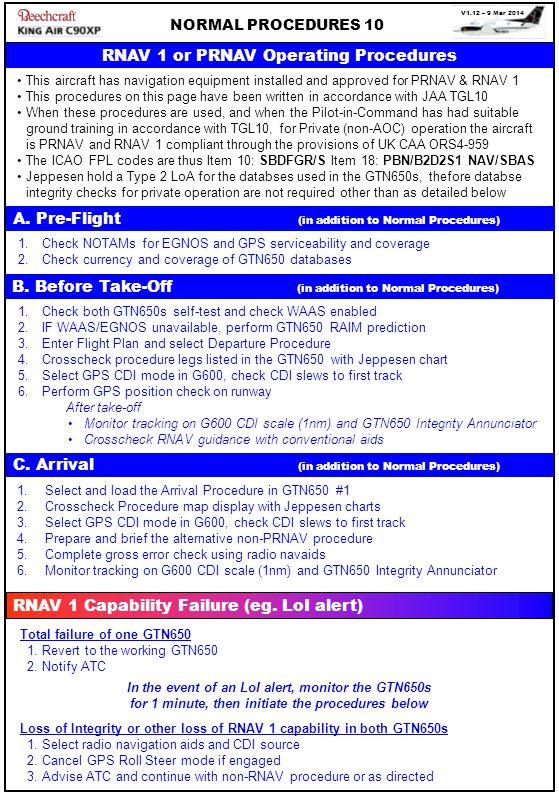 RNAV 1 or PRNAV Operating Procedures