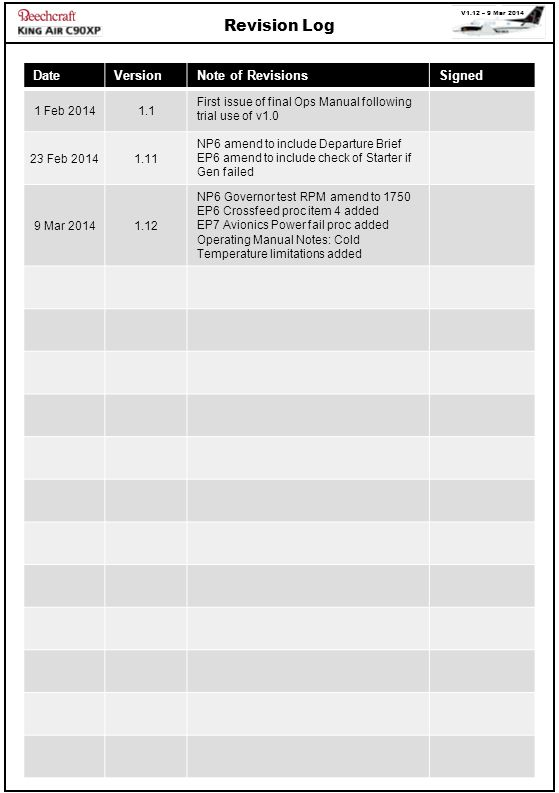 Revision Log Date Version Note of Revisions Signed 1 Feb 2014 1.1