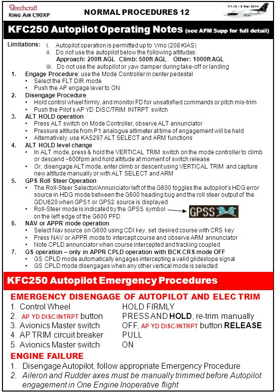 KFC250 Autopilot Operating Notes (see AFM Supp for full detail)
