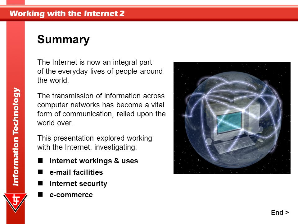 Summary The Internet is now an integral part of the everyday lives of people around the world. The transmission of information across.