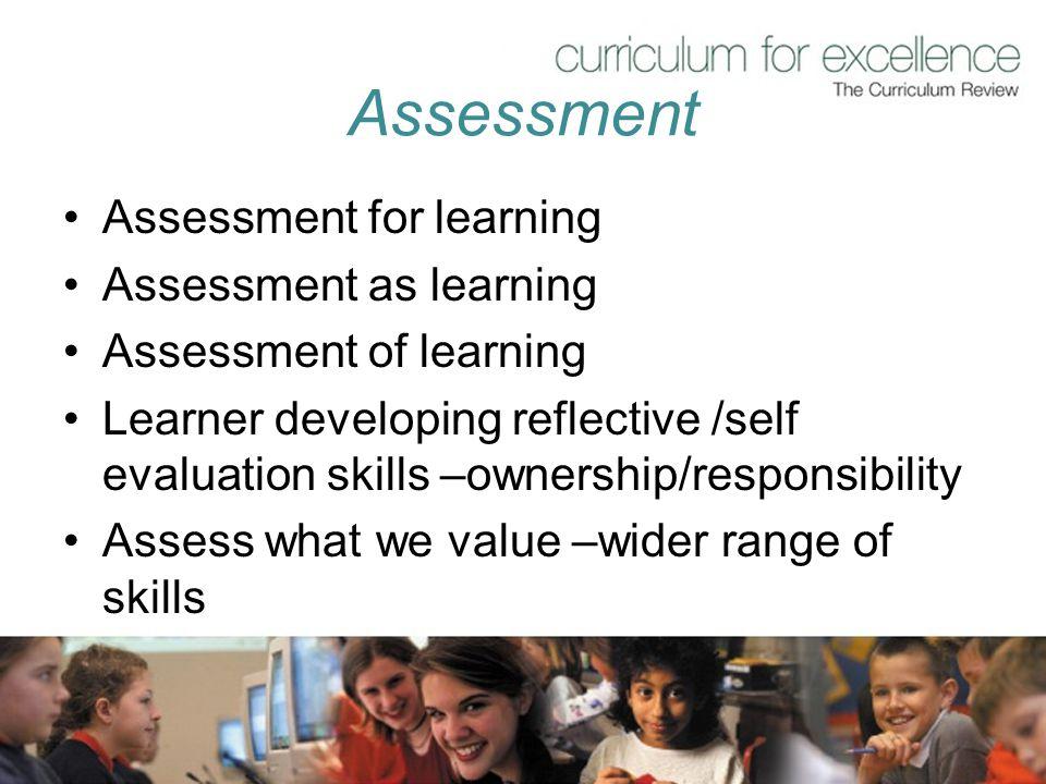 Assessment Assessment for learning Assessment as learning
