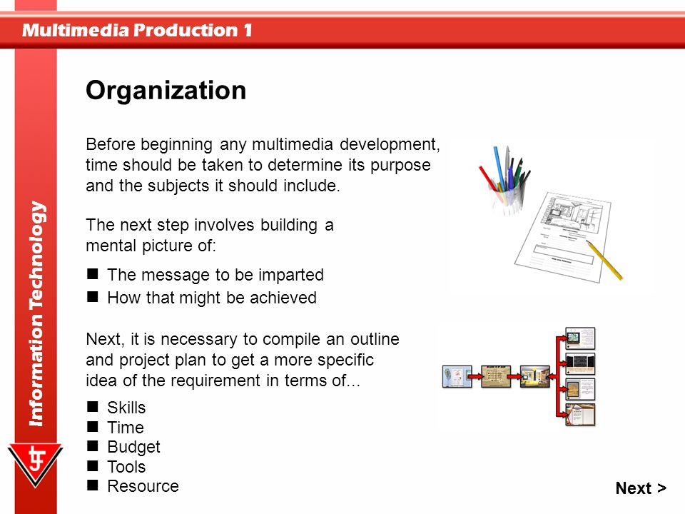 Organization Before beginning any multimedia development, time should be taken to determine its purpose and the subjects it should include.