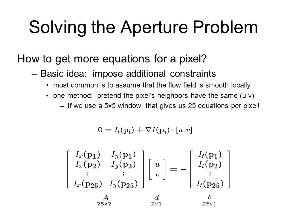 Solving the Aperture Problem