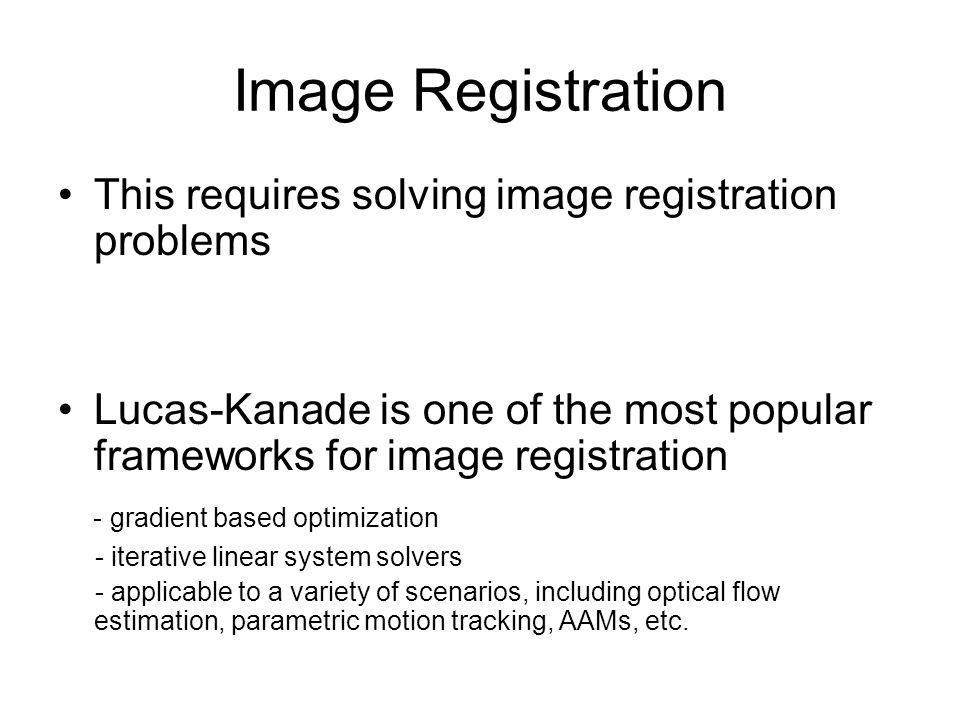 Image Registration This requires solving image registration problems
