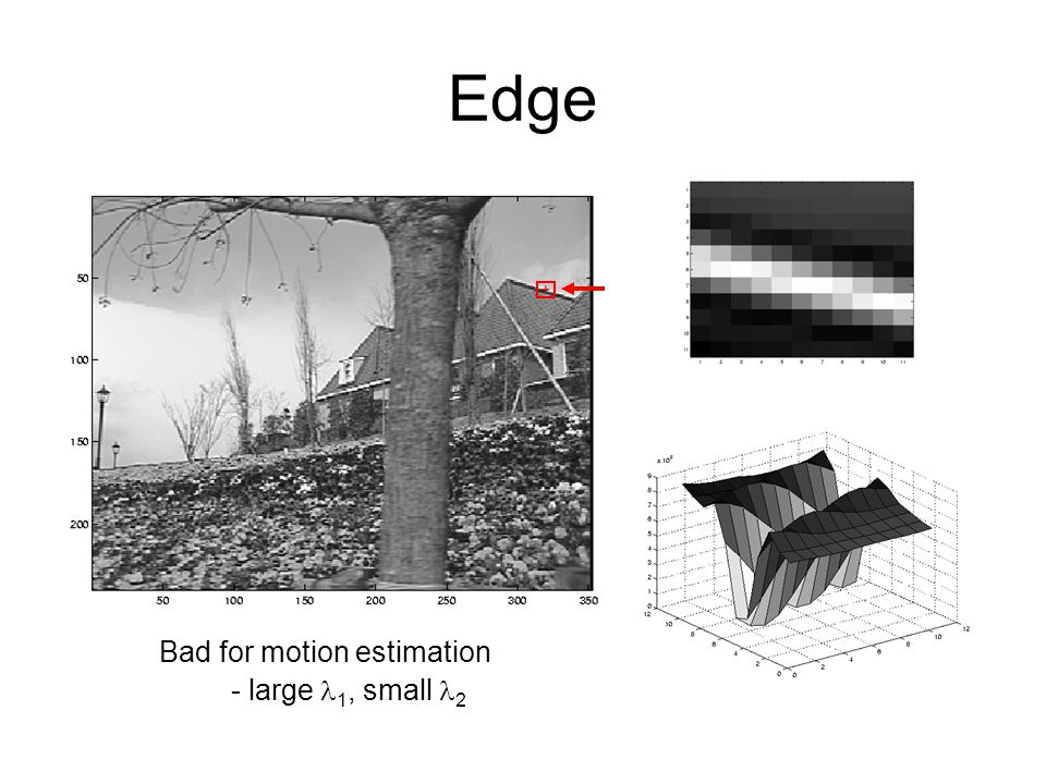 Edge Bad for motion estimation - large l1, small l2