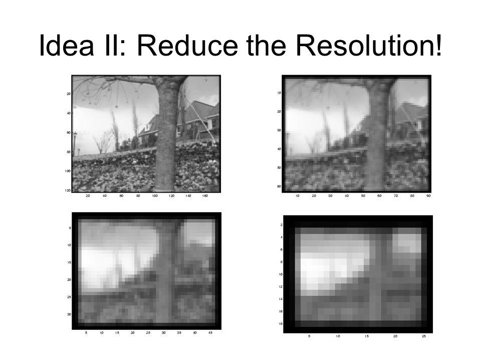 Idea II: Reduce the Resolution!