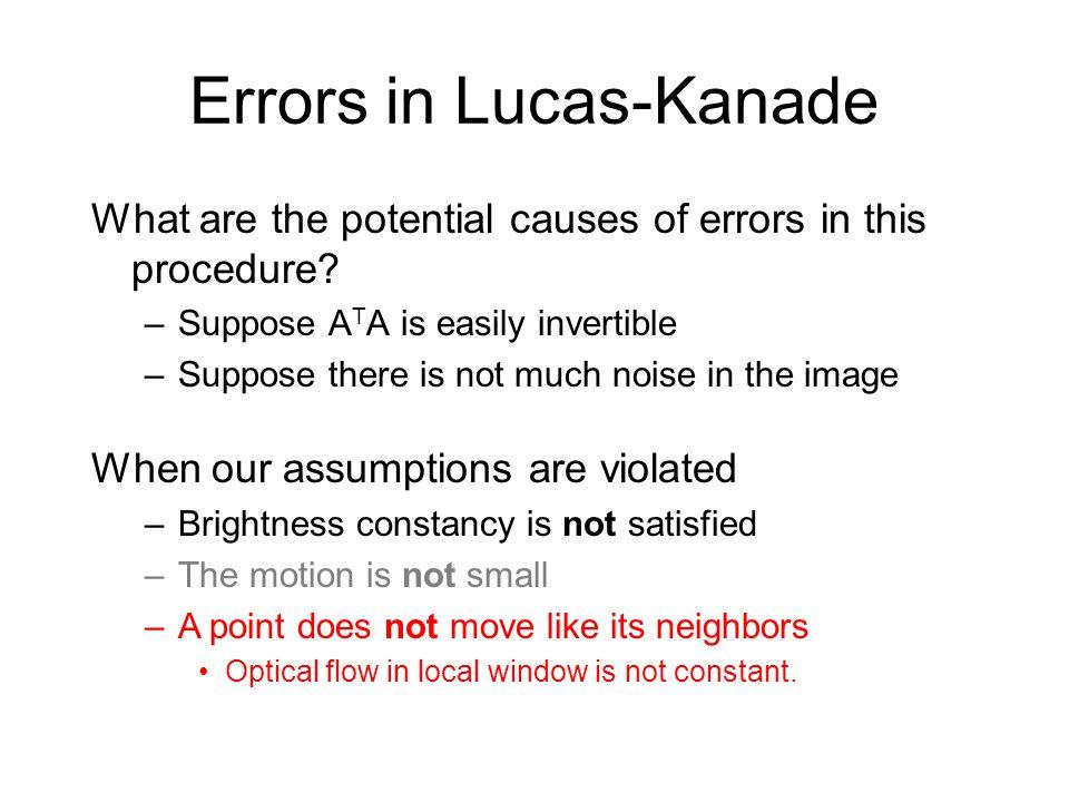 Errors in Lucas-Kanade