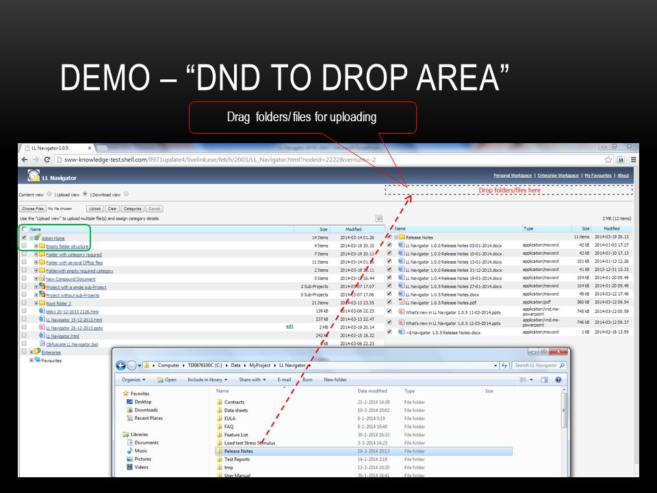 Demo – dnD to drop area