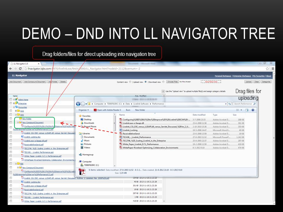 Demo – dnD into LL Navigator tree