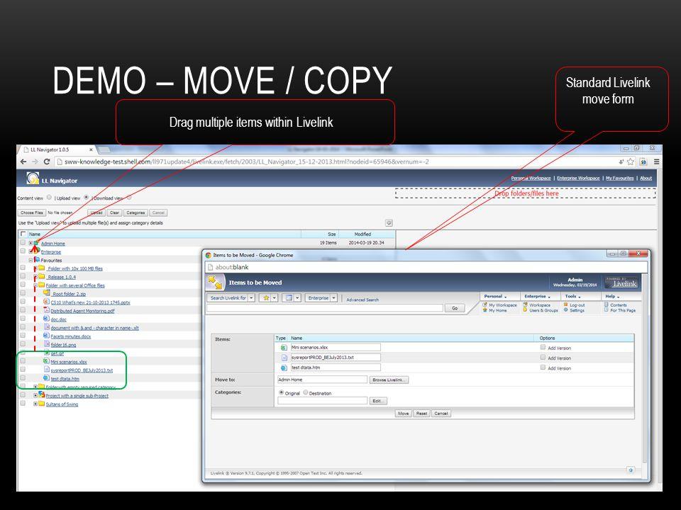 Demo – Move / copy Standard Livelink move form