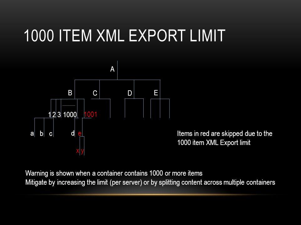 1000 item XML Export limit A B C D E 1 2 3 1000 1001 a b c d e