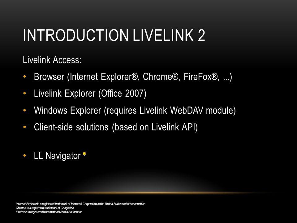 Introduction Livelink 2