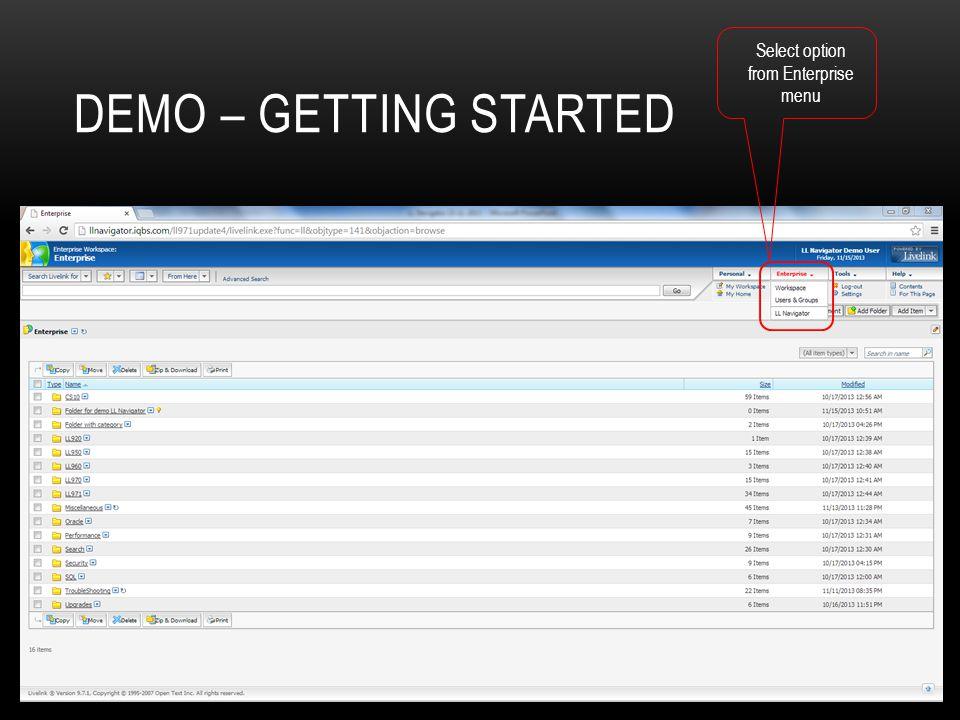Select option from Enterprise menu