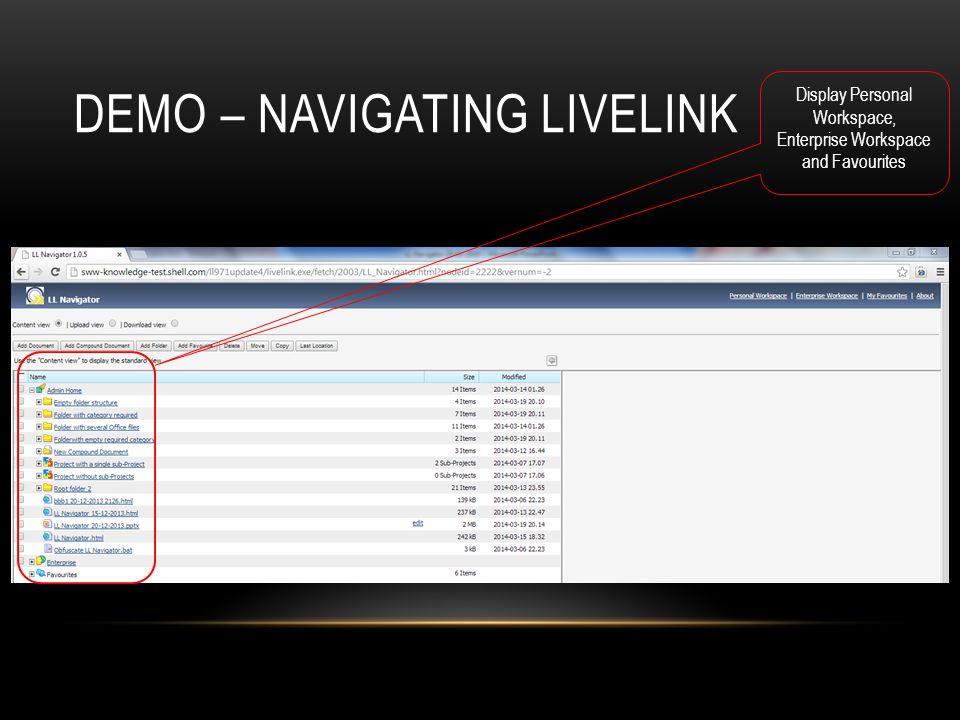 Demo – Navigating Livelink