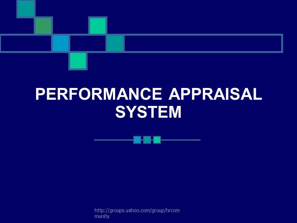 PERFORMANCE APPRAISAL SYSTEM