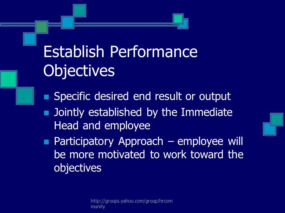 Establish Performance Objectives