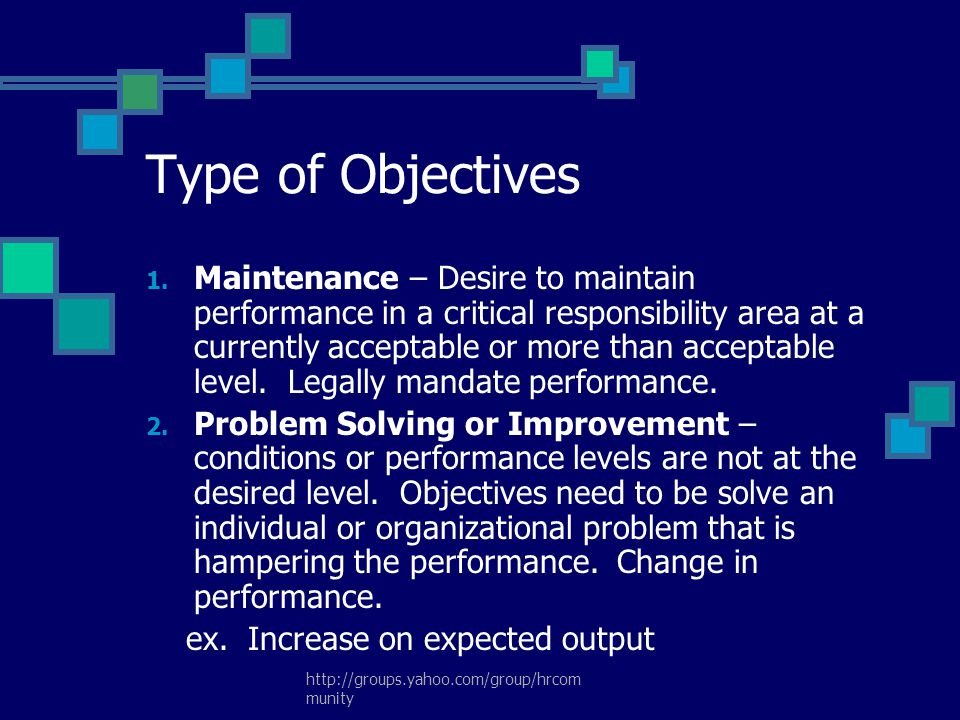 Type of Objectives