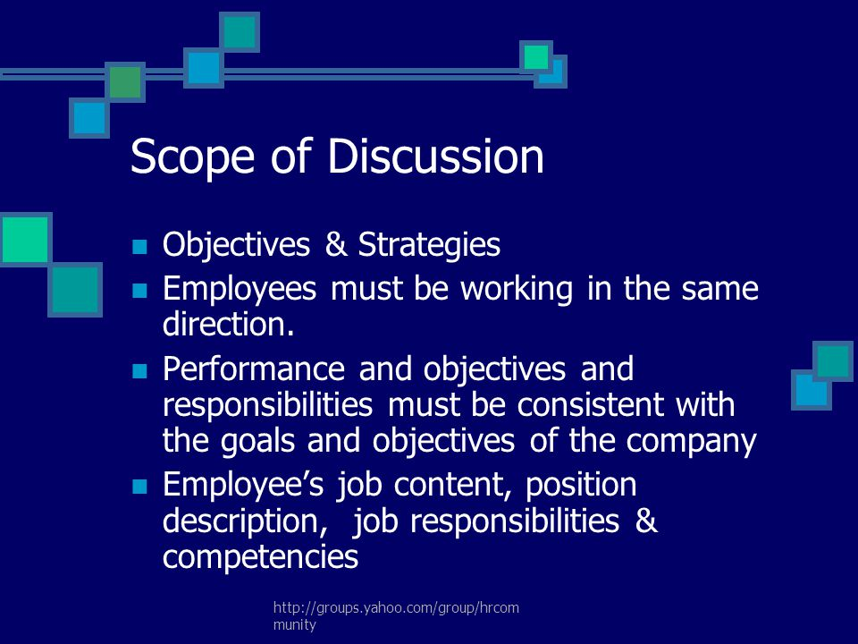 Scope of Discussion Objectives & Strategies