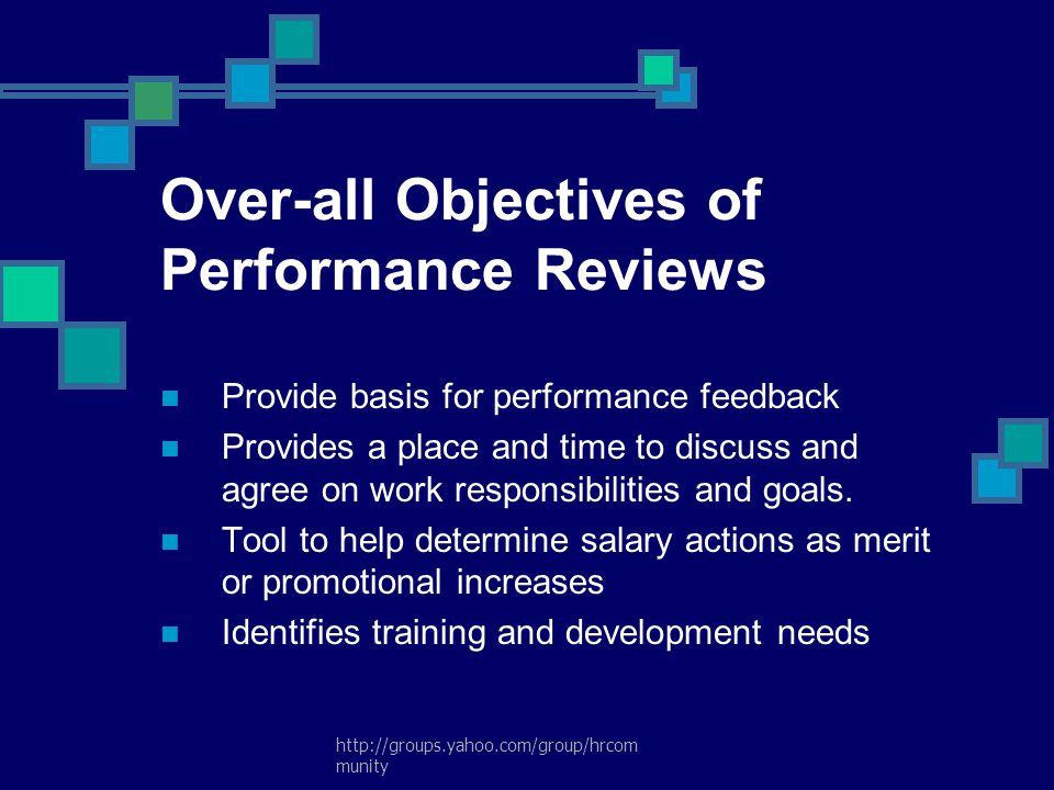 Over-all Objectives of Performance Reviews