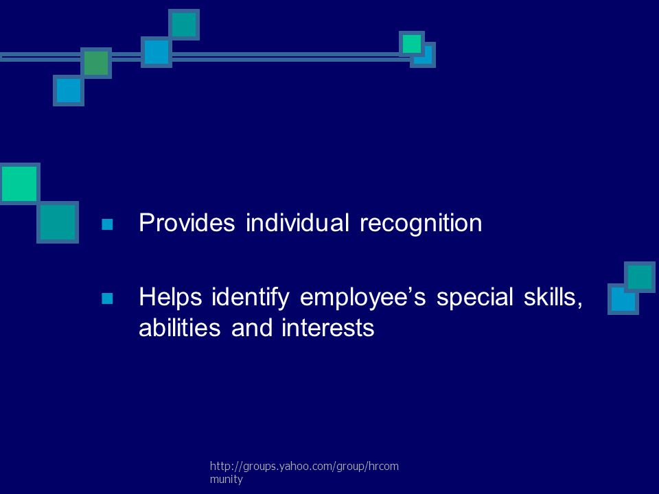 Provides individual recognition
