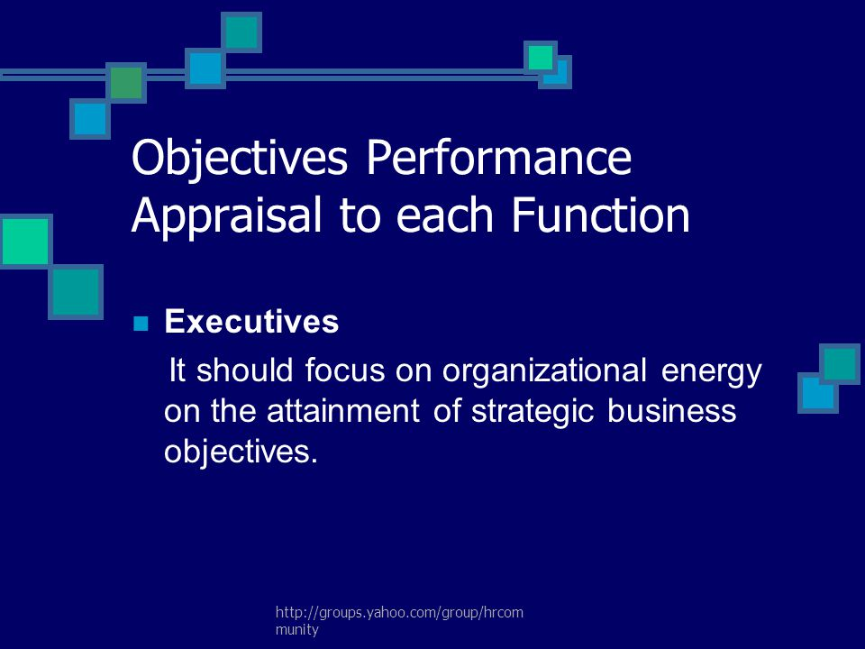 Objectives Performance Appraisal to each Function