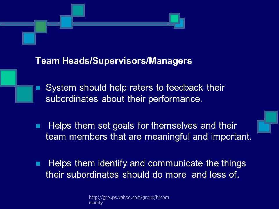 Team Heads/Supervisors/Managers